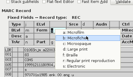 Right-clicking the BLvl field