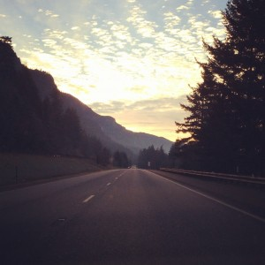 Driving towards Portland from Hood River on I-84